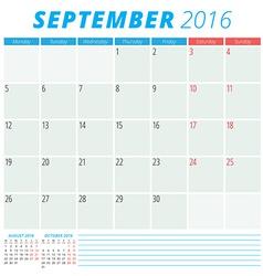 Calendar 2016 flat design template September Week vector image vector image