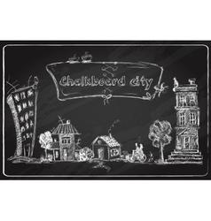 Chalkboard city doodle vector image