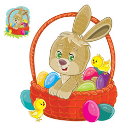 easter bunny sitting in a basket for easter vector image