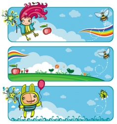 fairy sunny banners for kids vector image vector image
