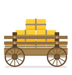 flat of wooden cart vector image