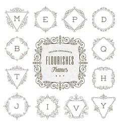 Flourishes calligraphic elegant ornament frames vector
