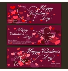 Happy Valentines day banners Shiny hearts and vector image