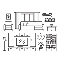 Living room line vector image