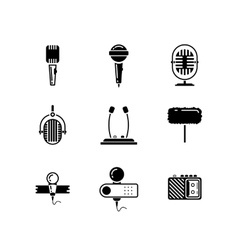 Microphone black icons set vector image vector image