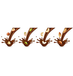 pouring chocolate splashes and nuts realistic set vector image vector image