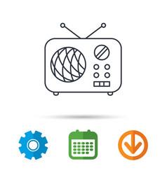 Radio icon retro musical receiver sign vector