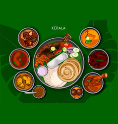 traditional keralite cuisine and food meal thali vector image vector image