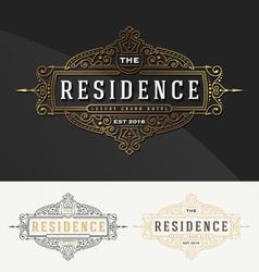 Vintage flourish frame logo template for Residence vector image