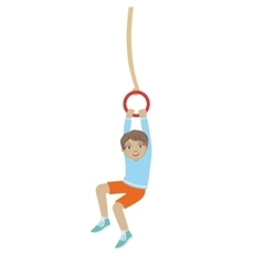 Boy hanging on the ring the rope vector