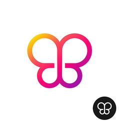 Colorful butterfly logo Linear geometric style vector image vector image