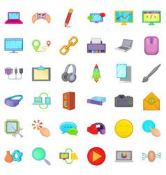 Computer icons set cartoon style vector