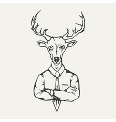 deer hipster Black and white vector image