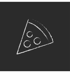 Pizza slice icon drawn in chalk vector image