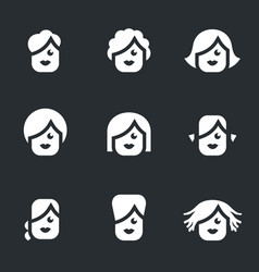 set of female hairstyle icons vector image