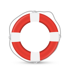 white lifebuoy with red stripes and rope isolated vector image