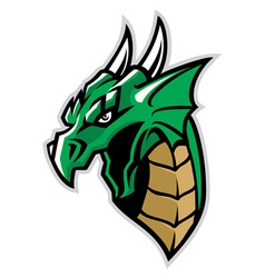 green dragon head mascot vector image