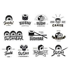 Monochrome Japanese Food Labels Set vector image vector image