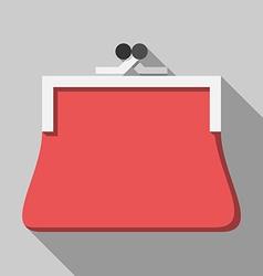 Red purse long shadow vector image vector image