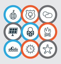 set of 9 eco-friendly icons includes sun clock vector image vector image