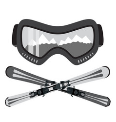 set of ski and glasses goggles in trendy flat vector image vector image
