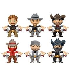 Six men characters in cartoon wild West style vector image