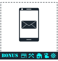 Smartphone email or sms icon flat vector