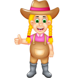 cute farmer cartoon posing with smile and thumb up vector image vector image