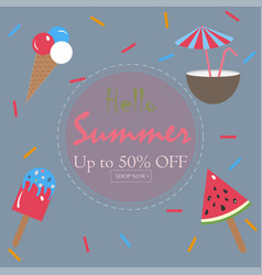 summer summer sale card up to 50 off vector image vector image