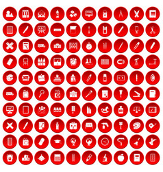 100 stationery icons set red vector