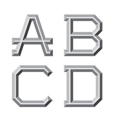 A b c d gray faceted letters prismatic retro vector