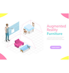 augmented reality furniture flat isometric vector image