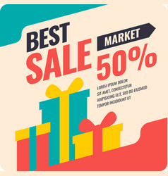 banner best selling in flat design retro vector image