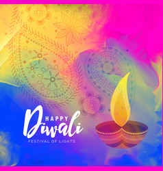 Beautiful happy diwali watercolor background vector