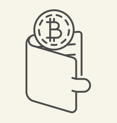 bitcoins in wallet thin line icon crypto coins in vector image