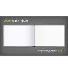 Blank of open album with cover on grey background vector image