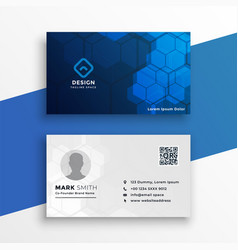 Blue and white technology business card design vector