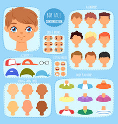 boy face constructor kids character and guy vector image