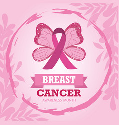breast cancer october awareness month ribbon pink vector image