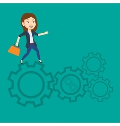 Business woman running on cogwheels vector image