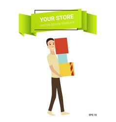 cartoon shopping people shop concept vector image