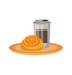 coffee cup and cinnamon roll vector image