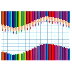 Color pencils wave on a squared paper vector image