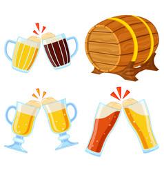 colorful cartoon draft beer set vector image
