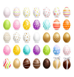 colorful easter eggs set realistic spring vector image