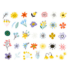 colorful floral collection set summer vector image