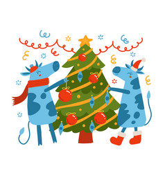 cool bull and cow in a santa hat decorating vector image