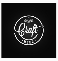 craft beer vintage logo on black background vector image