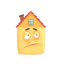 Cute house cartoon character with skeptical vector