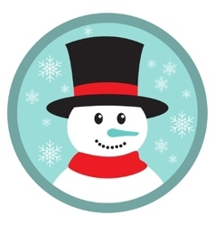 Cute snowman head icon button vector